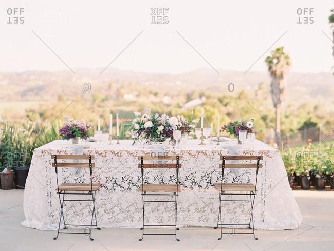 Wedding table on a hilltop