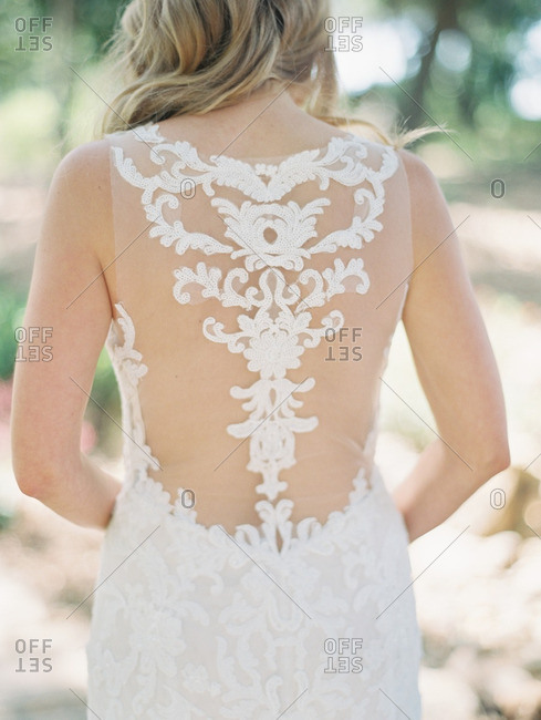 Bride with lace back dress