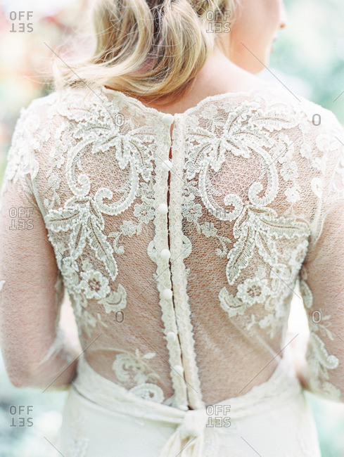 Back of lace bridal gown