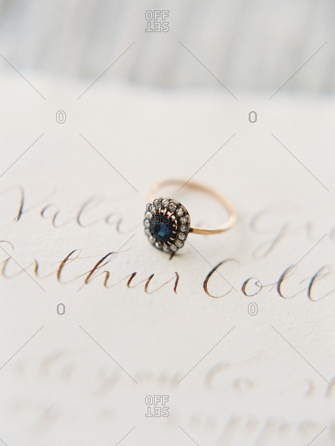 Engagement ring on a note