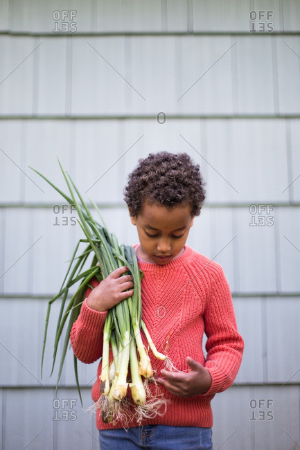 Boy holding bunch of scallions