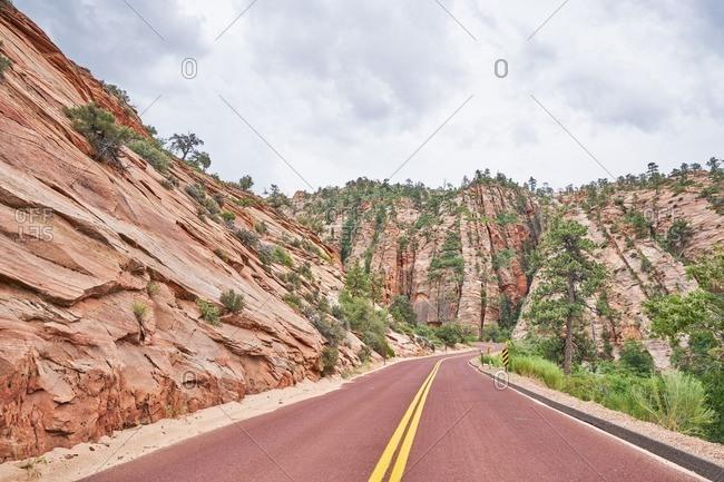 Winding highway road in the mountains in Utah