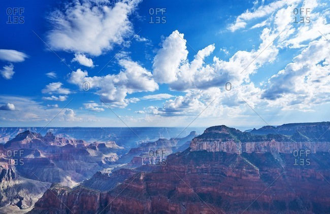 Clouds in the sky over the North Rim of the Grand Canyon National Park in Arizona