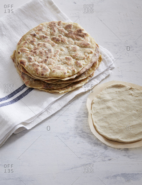 Quinoa tortillas on a linen cloth