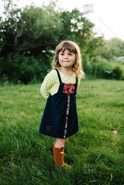 Portrait of a little girl wearing socks