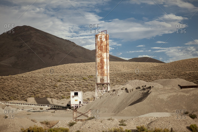 Rusty tower in the desert in Nevada, US