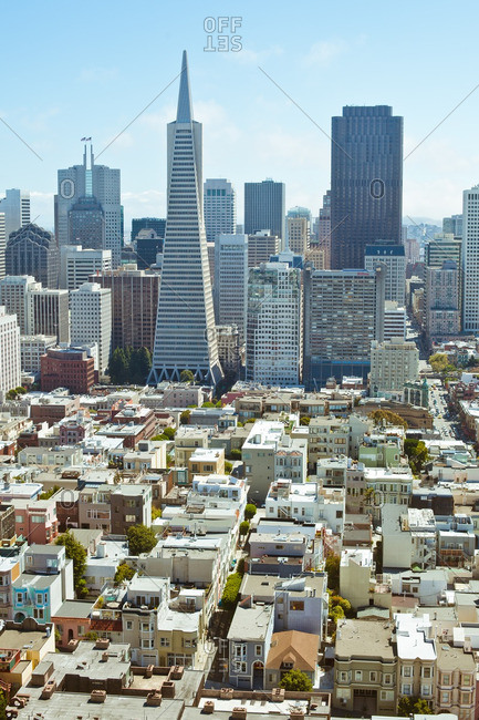 Skyline of buildings in the North Beach area in San Francisco, US