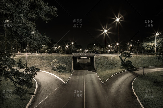 View of a bridge and streetlamps at night in Brasilia, Brazil