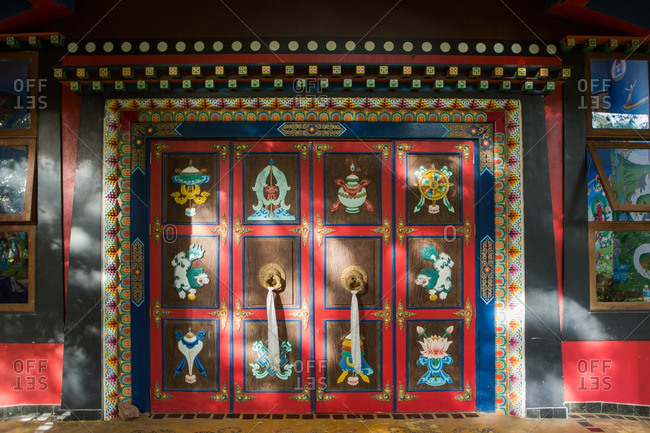 Viamao , Brazil - January 22, 2015: Doors to the Buddhist temple CEBB (Centro de Estudos Buddhist Bodisatva)
