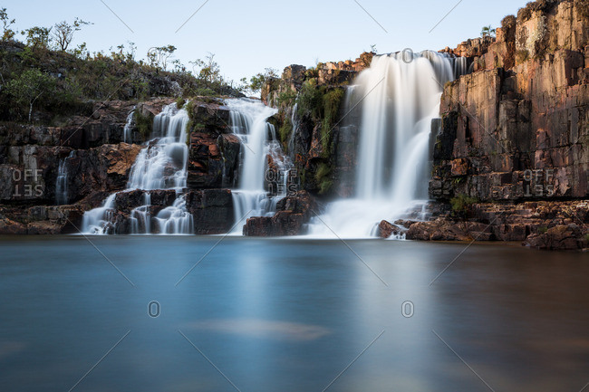 Waterfalls flowing into a river at Chapada dos Veadeiros National Park in Brazil