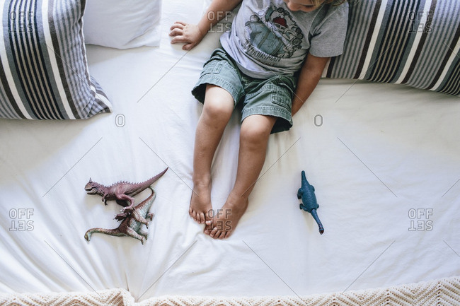 Overhead view of toddler boy playing with plastic dinosaurs on bed