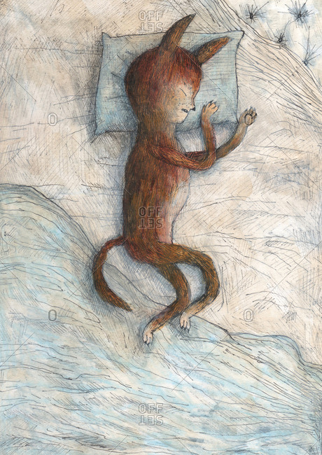 Illustration of a foxlike creature with a humanlike face sleeping on a bed