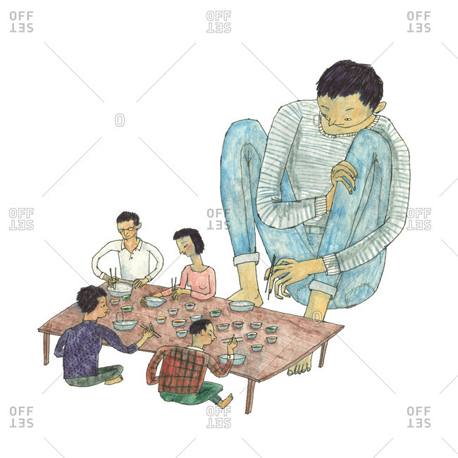 Illustration of one person who is much larger than the others seated around a table and eating with chopsticks