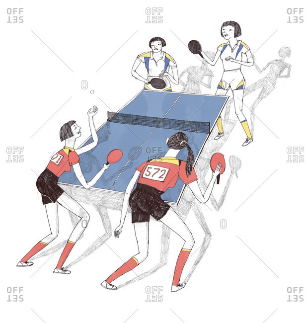 Illustration of four women playing table tennis