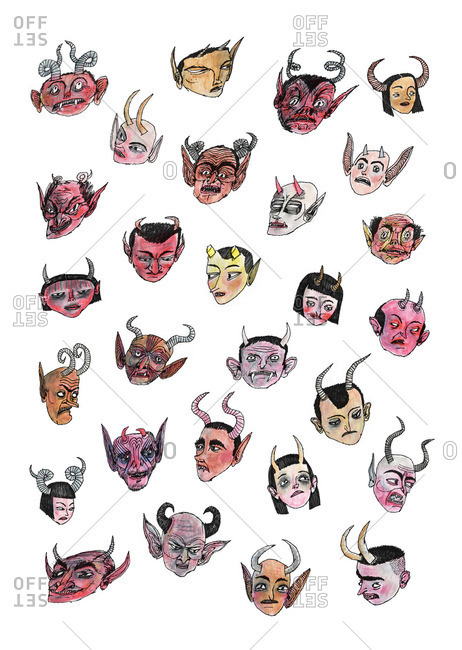 Illustration of the faces of several demons with horns