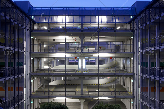 Parking garage with glass walls