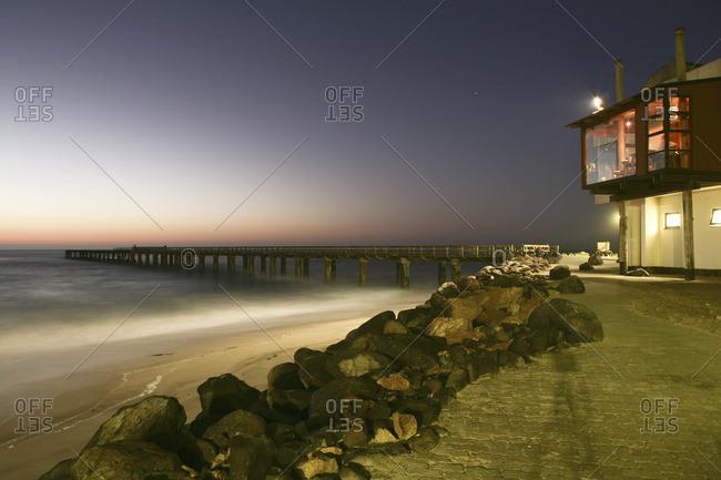 Building on evening Namibian coast