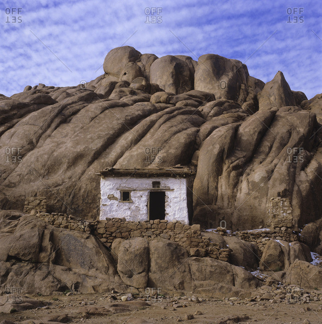 Hut in mountains in Egypt