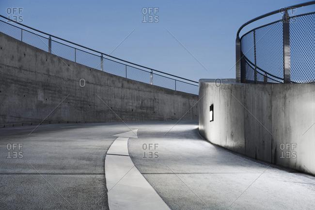 Curved ramp of parking garage