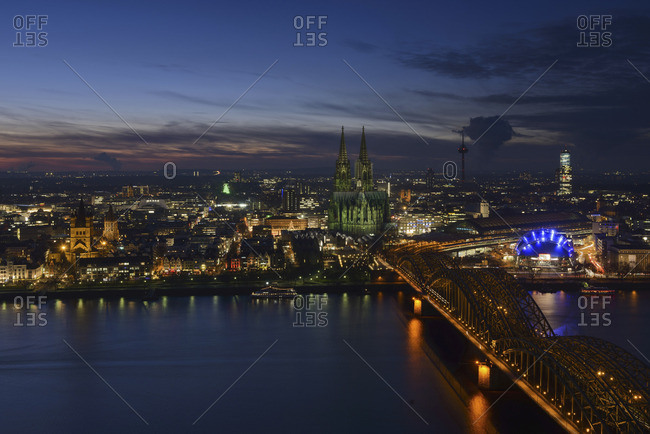 Night cityscape of Dusseldorf, Germany