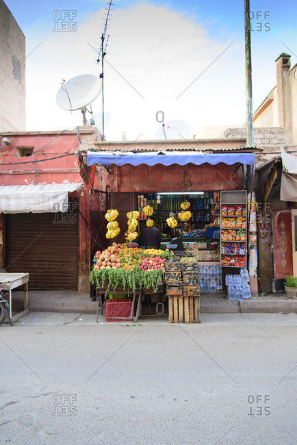 May 7, 2015: Grocery stand in Marrakesh, Morocco