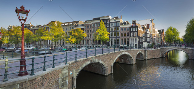 April 18, 2015: Canal bridge and houses, Amsterdam