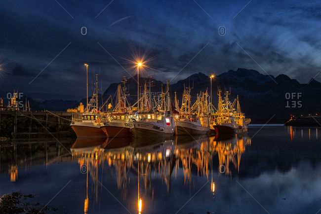 March 25, 2015: Boats at night on Norwegian coast