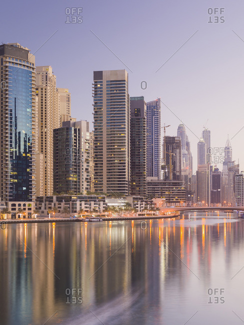 June 30, 2015: Dubai skyline along waterfront