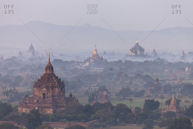 Aerial view of ancient temples, Myanmar