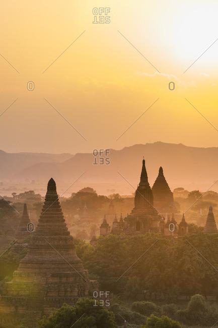Sunrise over temples, Bagan, Myanmar
