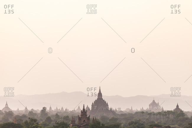 Sunrise over ancient temples, Bagan, Myanmar