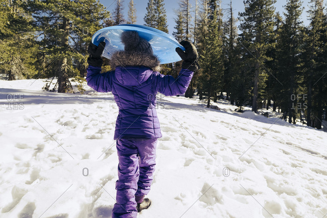 Girl carrying a saucer sled down a snow covered hill