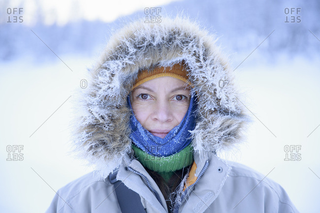 Sweden, Harjedalen, Portrait of mature woman in hood