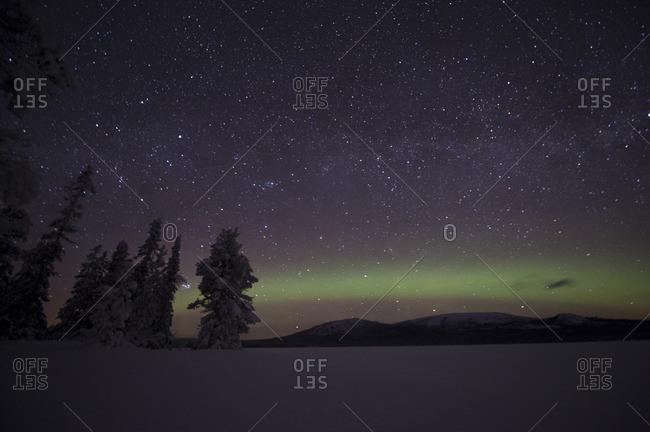 Sweden, Lappland, Jokkmokk, Aurora Borealis on night sky