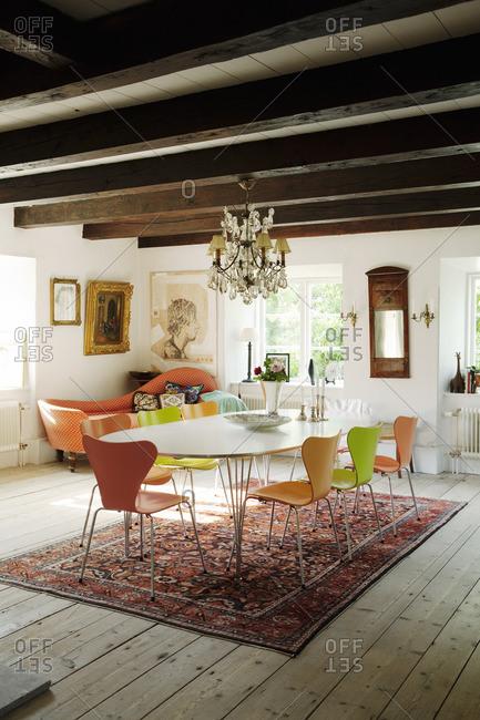 Sweden, Gotland, Bursvik, Burgegard, View of dining room in old house