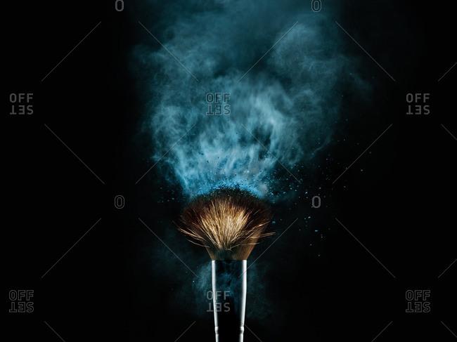 Studio shot of brush and powder
