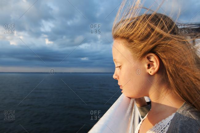 Sweden, Girl on ferry - Offset