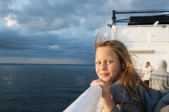 Sweden, Portrait of girl on ferry