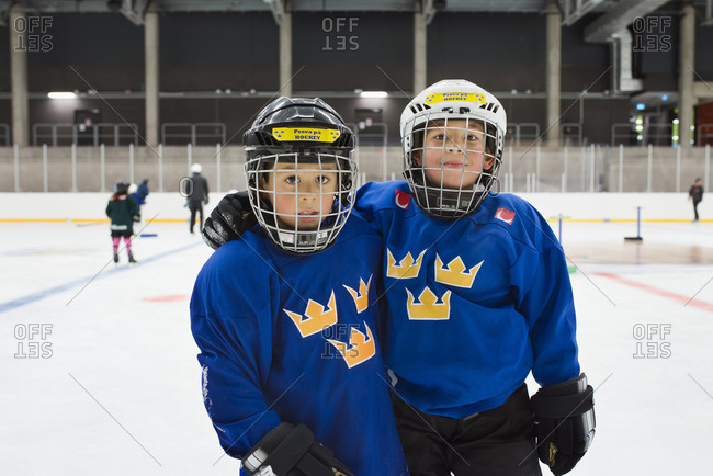 Sweden, Young male hockey players on ice