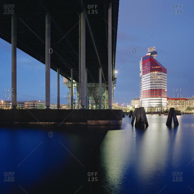Sweden, Vastergotland, Goteborg, View of bridge and Lappstiftet (Lipstick)