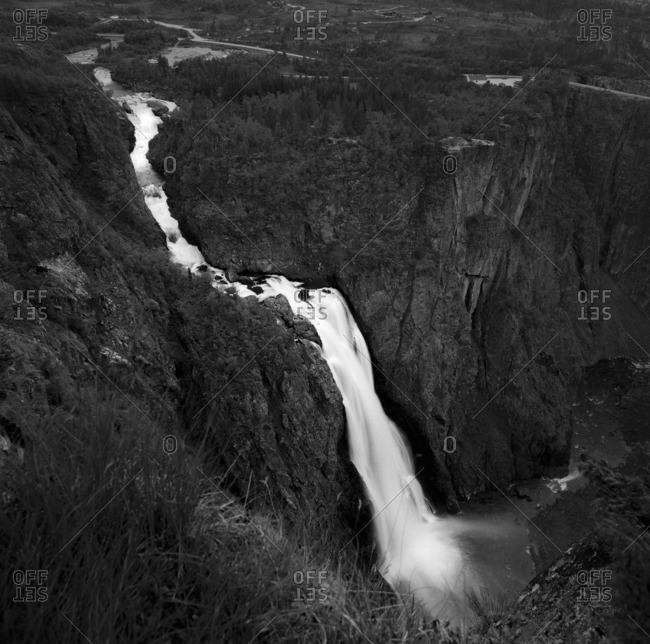Norway, Hordaland, Voringfossen, View of waterfall