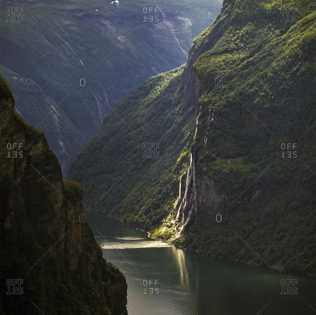 Norway, Knivsflaforsen, Geirangerfjorden, Geiranger, Seven Sisters Waterfall