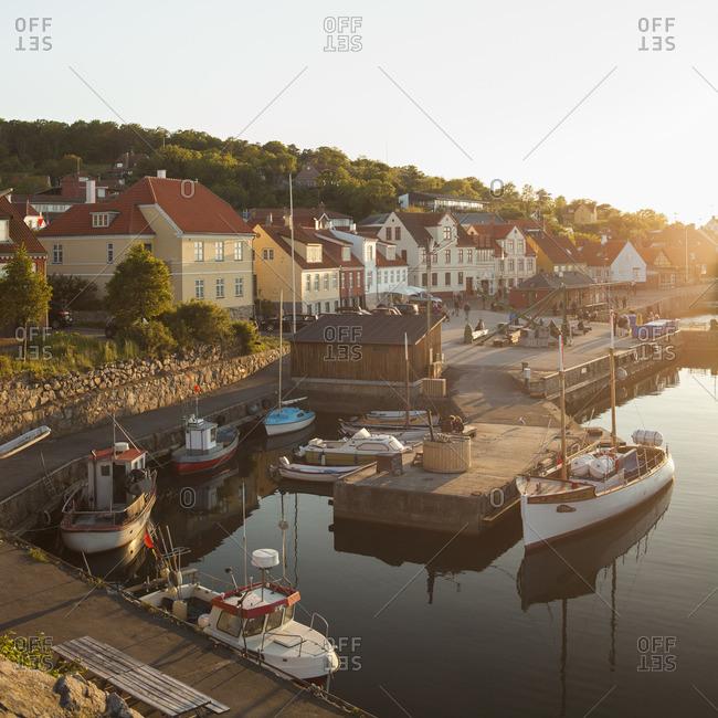 Denmark, Bornholm, Gudhjem, View of town and harbor