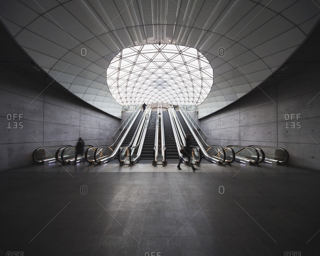 Sweden, Skane, Malmo, Escalators at railroad station