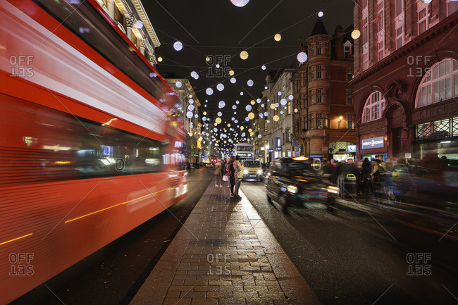 Oxford Street, London, England, United Kingdom - November 14, 2015: UK, England, London, Oxford Street, Christmas decorations at night