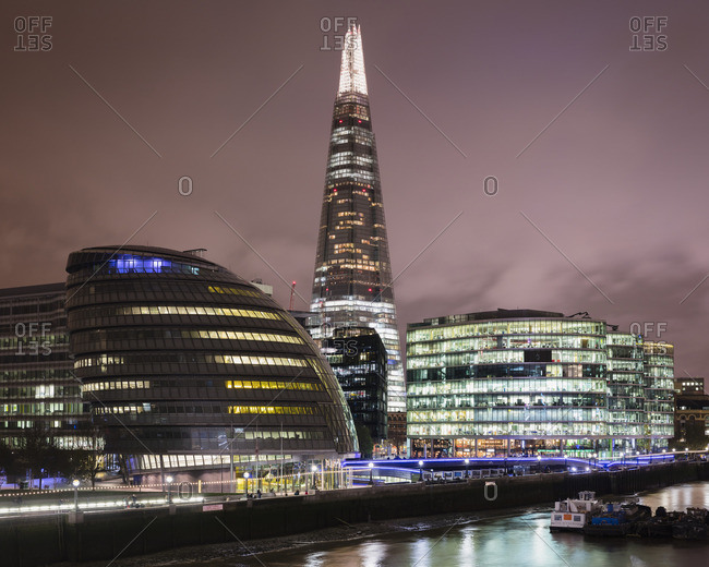 UK, England, London, Illuminated buildings at night