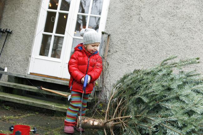 Sweden, Boy standing by Christmas tree in front yard