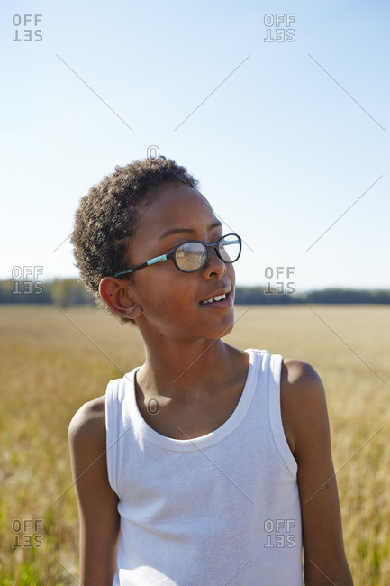 Sweden, Vastra Gotaland, Gullspang, Runnas, Portrait of smiling boy