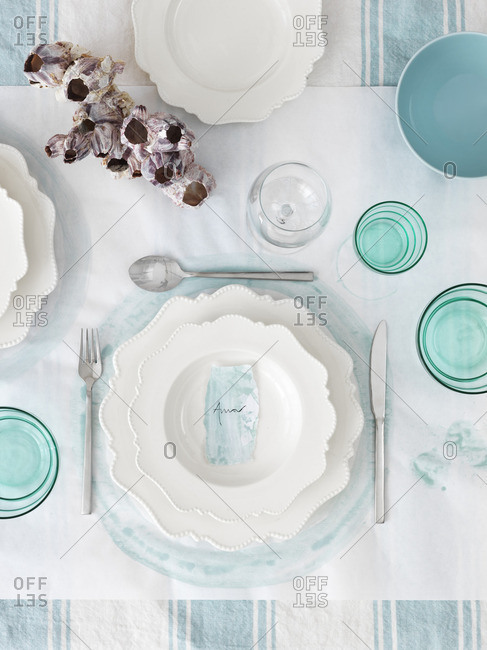 Sweden, Vastergotland, Table decorated in white and blue