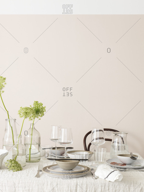 Sweden, Vastergotland, Table decorated in white and green